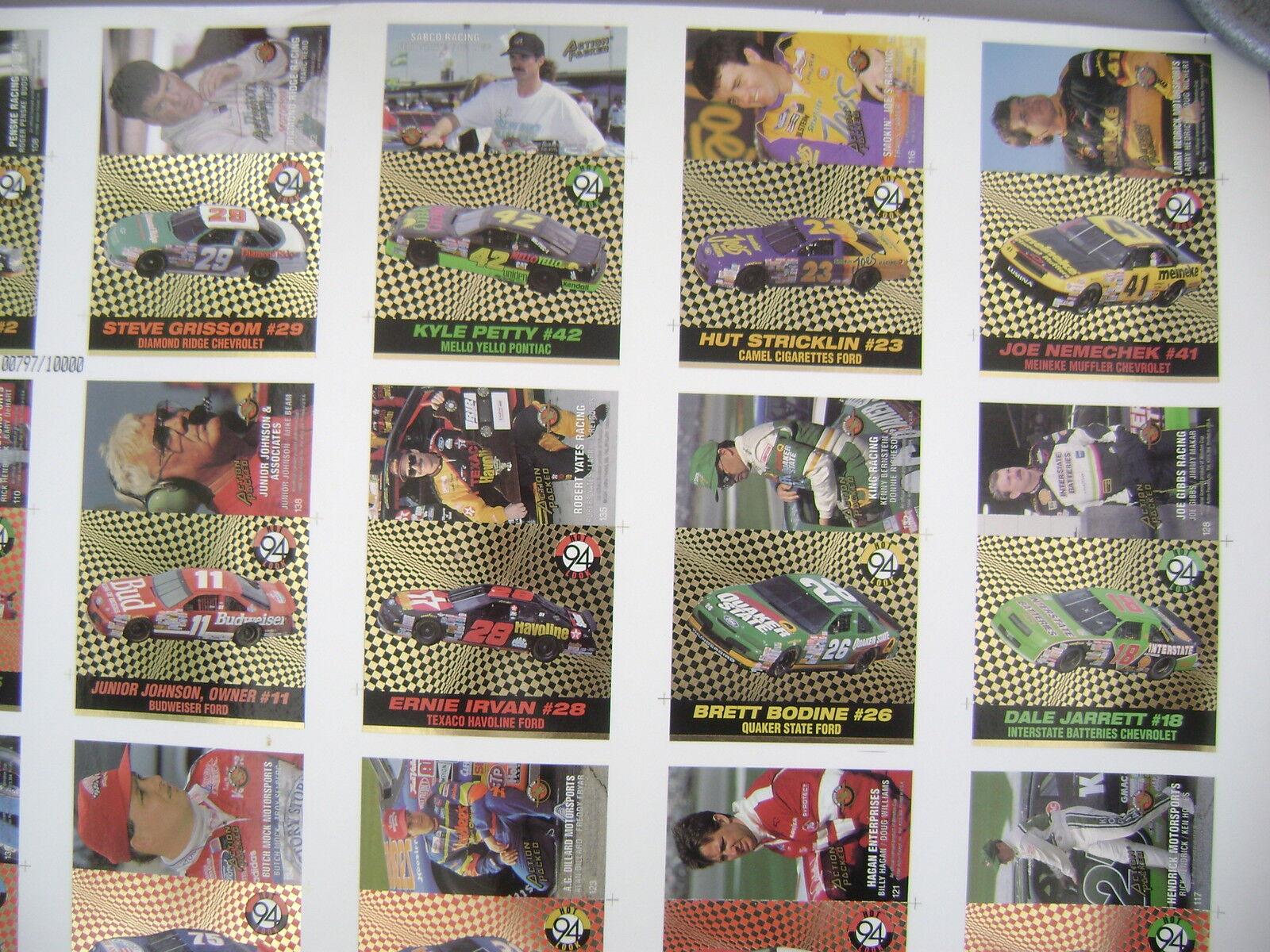 PINNACLE 1994 UNCUT SHEET 28  X X X 39  OF 42 CARDS  BONNETT LABONTES K.PETTY ETC b23b28
