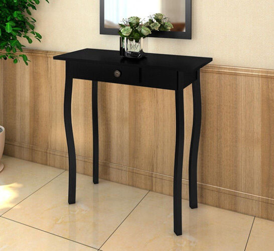 Hall Side Table Hallway Entryway Black Furniture Lamp Stand With Storage Drawer