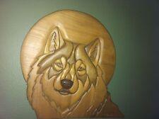 -WOLF under FULL MOON- 3D WOODEN WALL SCULPTURE   OVER A FOOT  SIGNED ORIGINAL