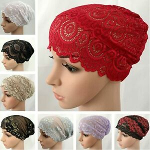 cf96cf84bff Women Lace Ruffle Cancer Chemo Hat Beanie Scarf Turban Ladies Head ...