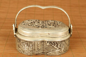 chinese-old-copper-plate-silver-statue-incense-burner-portable-home-decoration