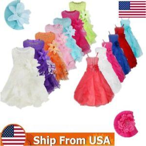 Baby-Girls-Flower-Organza-Tutu-Dress-Princess-Baptism-Wedding-Pageant-Party-Gown