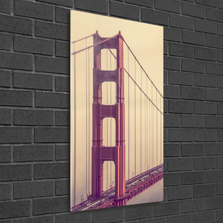 Wand-Bild Kunstdruck aus Acryl-Glas Hochformat 50x100 San Francisco Brücke