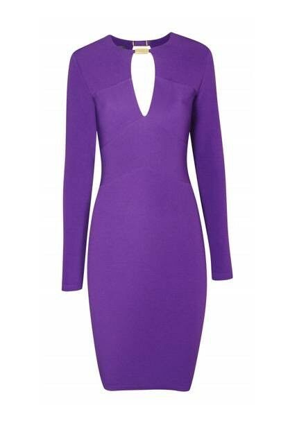 Kardashian Kollection (Kim Kardashian) Bodycon Dress.Size Purple.Midi.