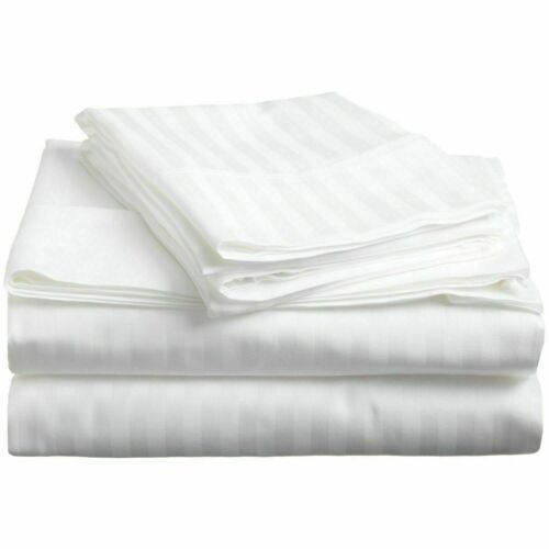 White Striped Deep Pocket Bed Sheet Set 1000 Count Egyptian Cotton Sheet