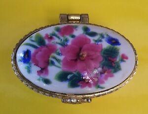 Vintage Porcelain Ceramic Floral Pill/Trinket Oval Shaped Box