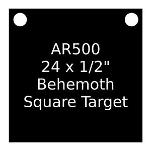 One AR500 Steel Target Square 1/2 x 24 Painted Black Shooting Practice Range