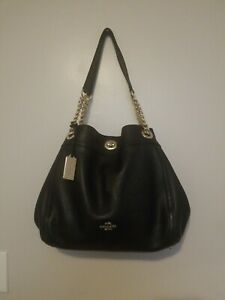 Coach-36855-Edie-Turnlock-Black-Pebbled-Leather-Shoulder-Bag-Pre-owned