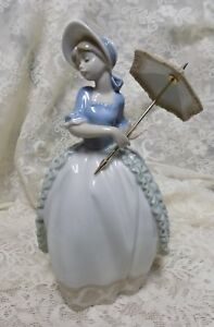 1985 Lladro Figurine Victorian Girl With Parasol Umbrella Spain