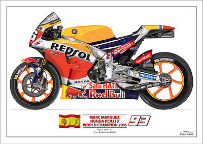 Mark Marquez 2016 World championm  ltd.ed. art print No 93/250 2016 Repsol Honda