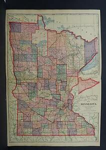 Minnesota, Antique Map, 1914