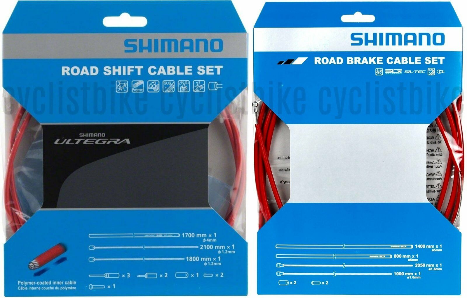 Shimano Road Red SP41 Poly-Coated Shift Cable & PTFE Brake Cable Set NIB
