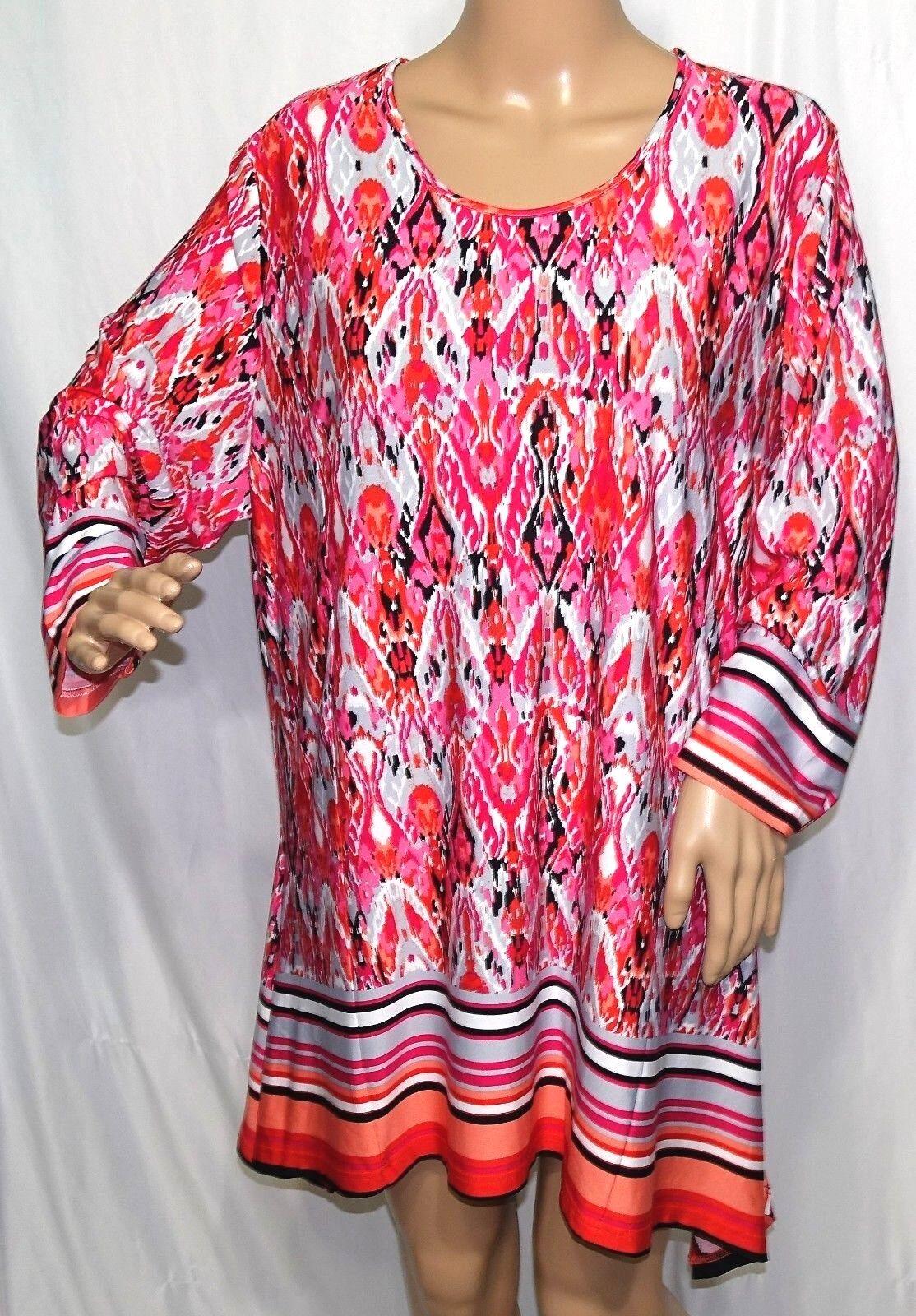 Southern Lady Women Plus Size 1x 2x 3x Pink Coral White Asym Tunic Top Blouse
