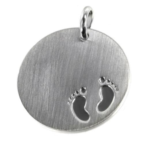 Baby Füßchen Kinder Anhänger Silber matt Füsschen Gravur Kette Kettenanhänger