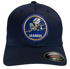 4f4511a54810e US Navy Seabees FLEXFIT Hat Ball Cap Blue 100% Structured Cotton ...