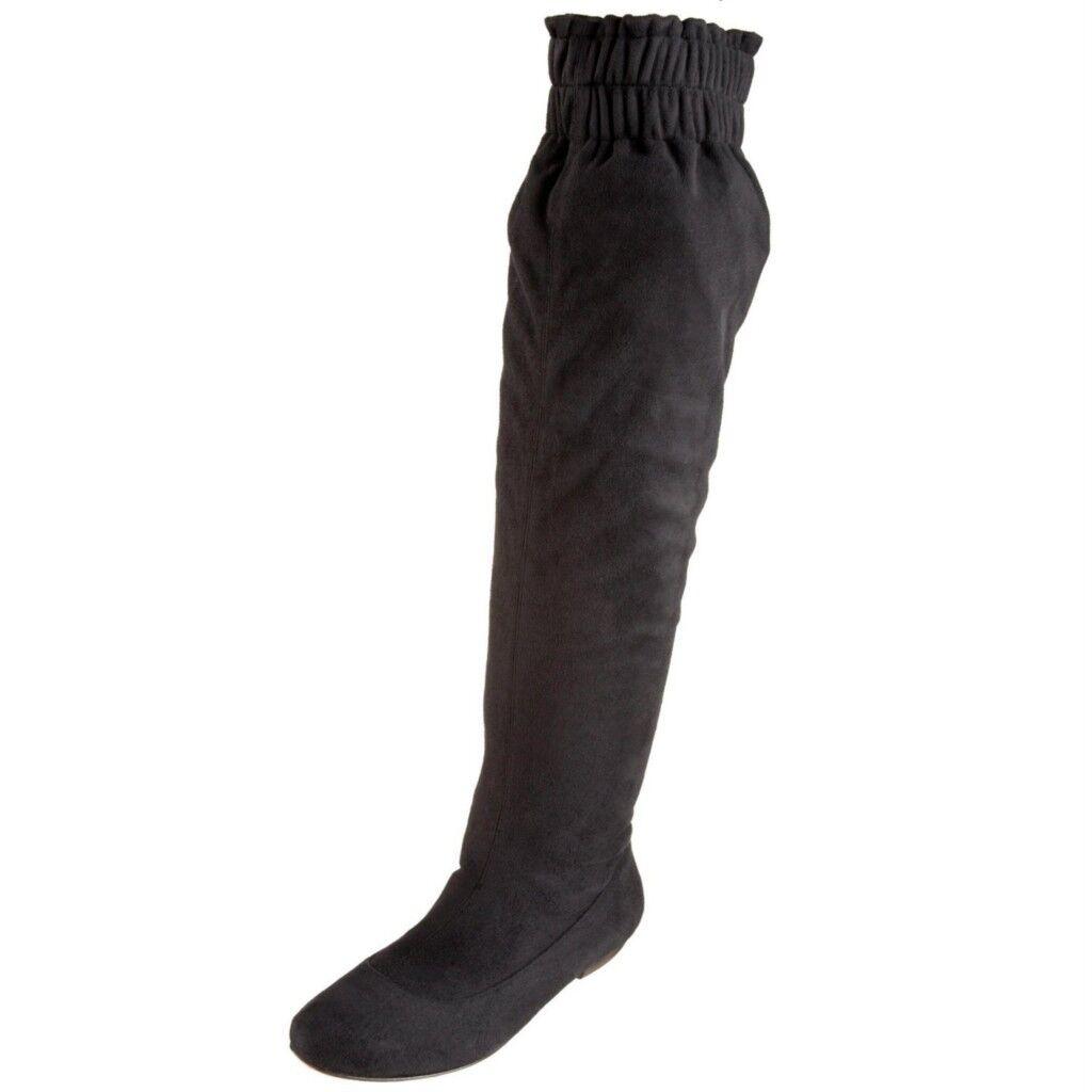 NEW  325 LUXURY REBEL APRIL Women Suede Suede Suede Boots Black 37.5  7.5 9150b4