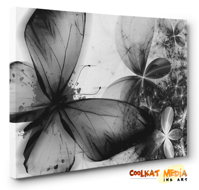 Abstract Unique Butterfly Floral Canvas Print  Black & White  Wall Art  A1 A2 A3