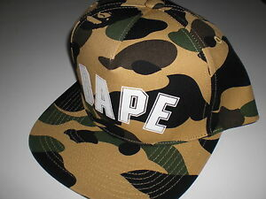 77a36893a2fb Authentic A Bathing APE BAPE 1ST CAMO BAPE LOGO SNAP BACK CAP GREEN ...
