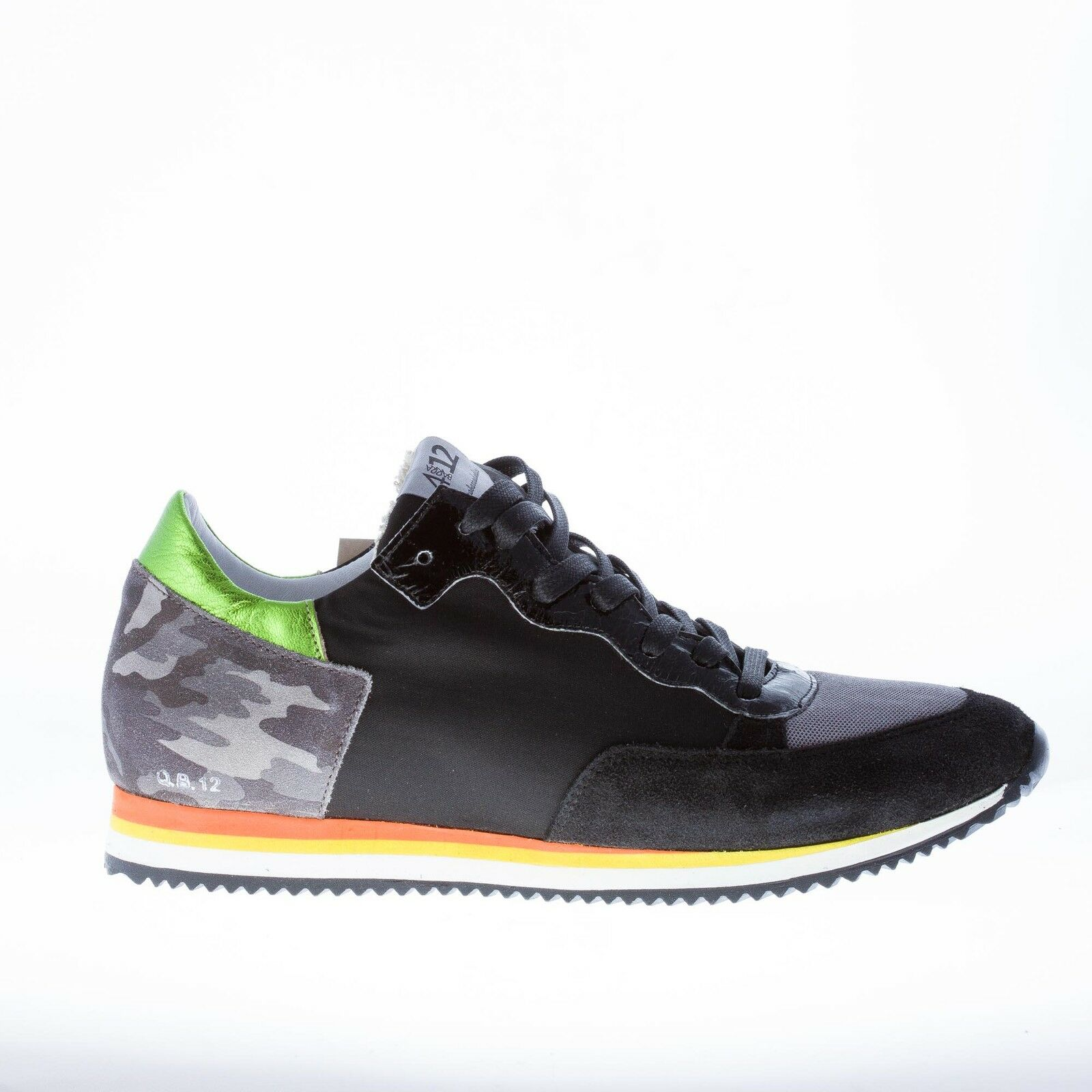 QUATTROBARRADODICI shoes homme Black suede and fabric sneaker with mimetic