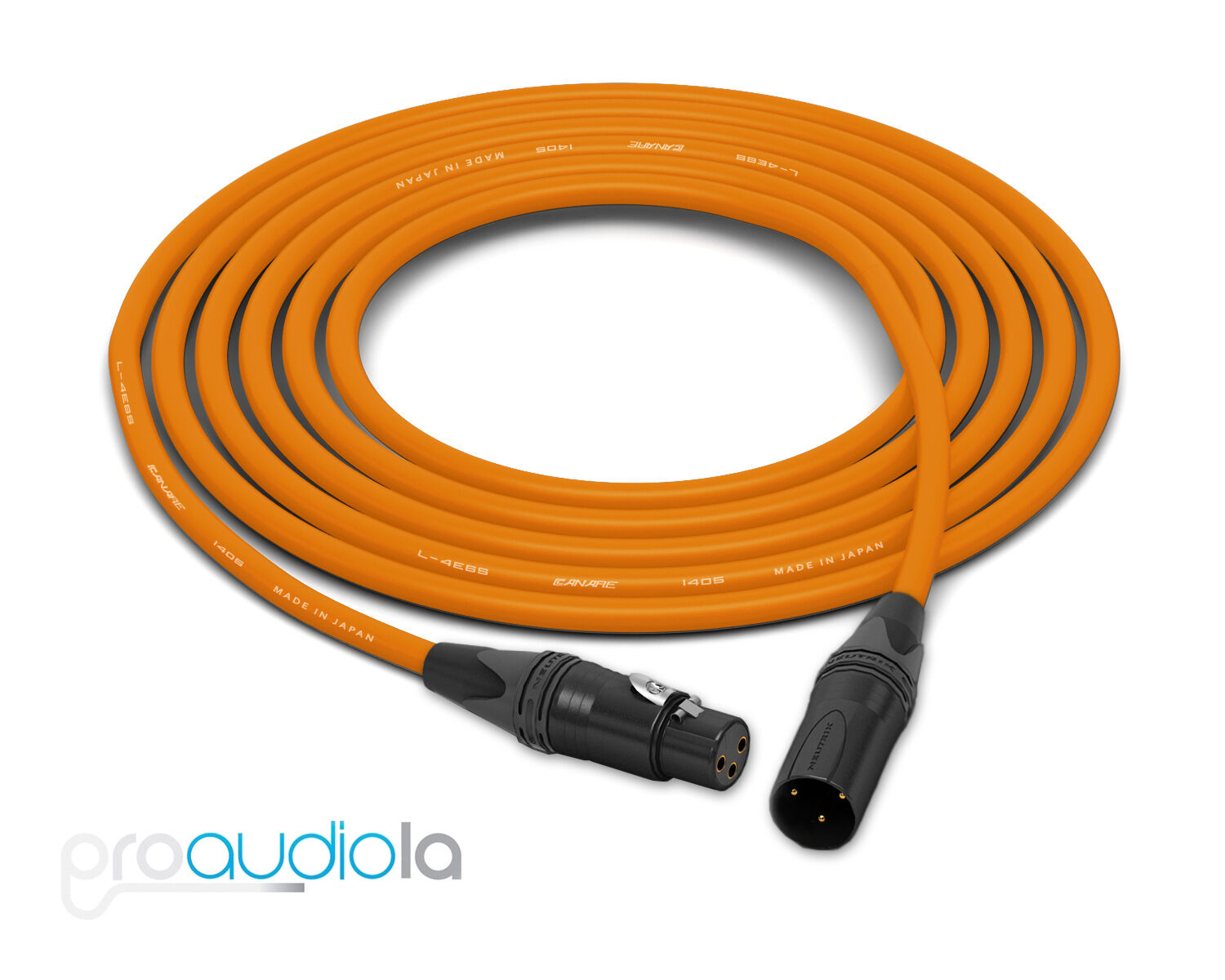 Canare Quad L-4E6S Cable   Neutrik Gold XLR-F XLR-M   Orange 250 Feet   250 Ft.
