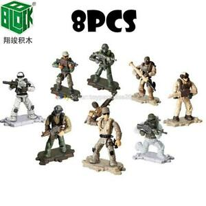 8-WW2-Military-Soldiers-France-US-Britain-Army-Weapon-Fit-Mega-Bloks-Minifigures