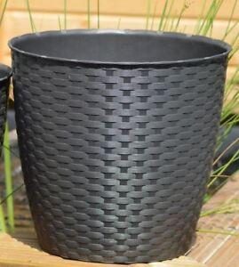 3er set rattan optik topf 19 cm pflanzkorb blumenkorb pflanzk bel blumentopf ebay. Black Bedroom Furniture Sets. Home Design Ideas