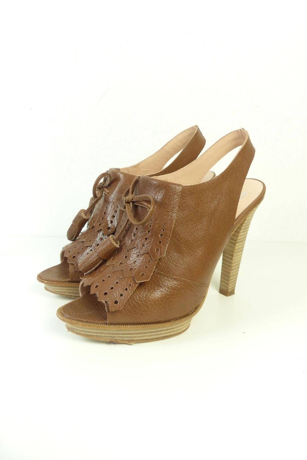 Paco gil tacón tacón tacón alto zapatos de salón Sling back cuero marrón talla EUR 38 (t29)  en promociones de estadios