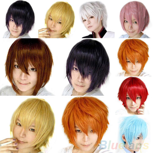 Korean Synthetic Short Wig Cosplay Party Costume Ball Straight Wigs Full Wig Cap