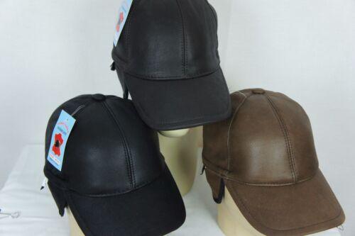 Genuine sheepskin Shearling Cuir Visière Motardes Baseball Trucker Hat M-3X Neuf avec étiquettes