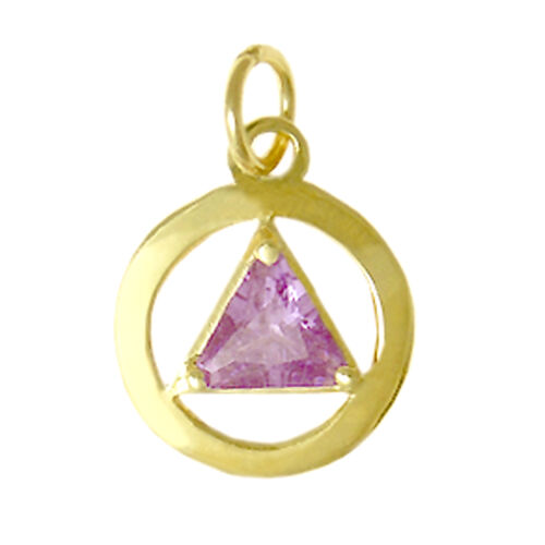 #278 CZ Birthstone Solid 14k Gold Alcoholics Anonymous Classic Color Pendant