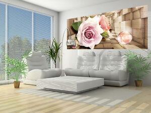 VLIES FOTOTAPETEN FOTOTAPETE TAPETE BLUMNEN NATUR ROSA HOLZ 3D ROSE 3FX3357VEP