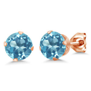 2-00-Ct-Round-Shape-Swiss-Blue-Topaz-Rose-Gold-Plated-Silver-Stud-Earrings