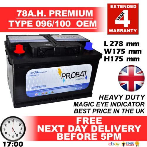 086 Powerline Car Battery 12V 78a fits many Chrysler Jeep Nissan Vauxhall 096R