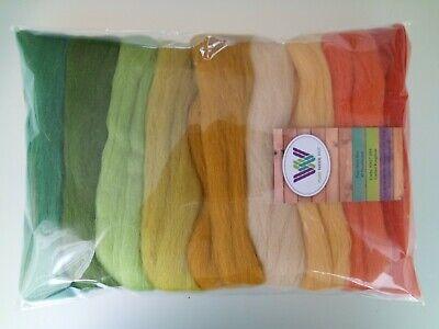 Orange Green Yellow 30 g Harvest set* Pure  Merino Wool Tops Roving for Felting