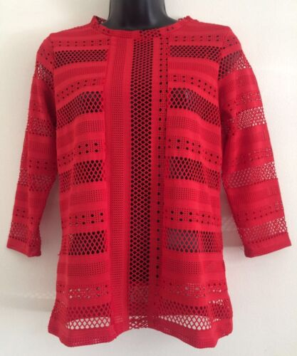NEW Ex Savida Dunnes Red Mocha Lace Formal Casual Everyday Blouse Top Size 6-16