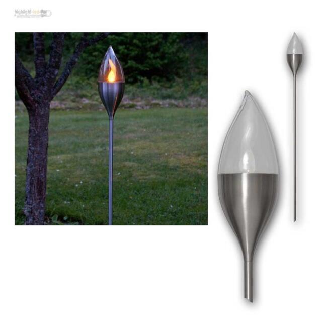 4x LED Solar Gartenfackel Edelstahl Garten Fackel Solarleuchten Set