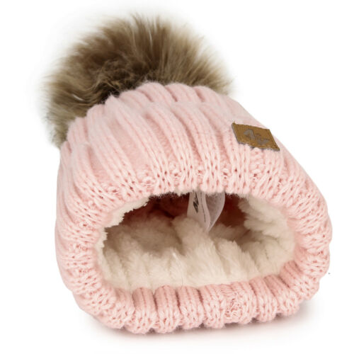 Boy Girl Cable Knitted Bobble Hat Plain Beanie Very Warm Winter Pom Wooly Cap