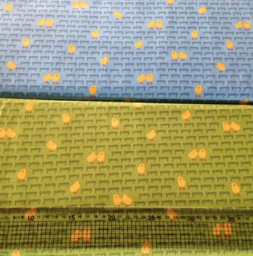 Robert Kaufman Barnyard Counting Chicks material fabric Awn Green Blue 14033 FQ