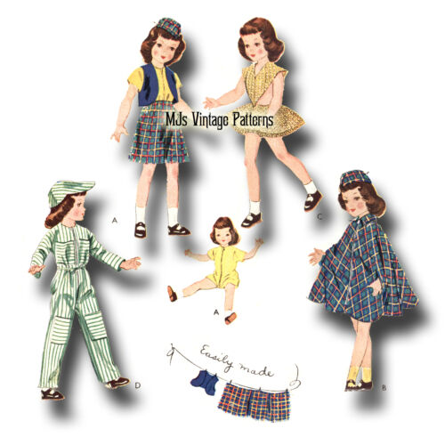 "Vtg 1950s Doll Pattern PLAY CLOTHES ~ 16/"" Toni 15/"" Miss Revlon Sweet Sue"