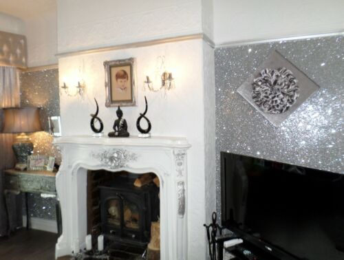 Glitter Wallpaper SILVER GREY BLACK GOLD PINK Chunky Fabric *10x10cm SAMPLE*