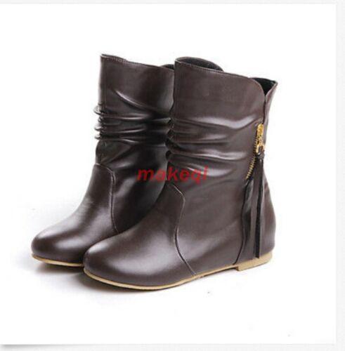 Women/'s Sweet Cute Comfort Flat Heel fashion Side Tassels Ankle Boots Shoes Size