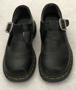Dr Martens Polley Mary Jane Buckle Shoes Smooth Leather Black US 6 UK 4