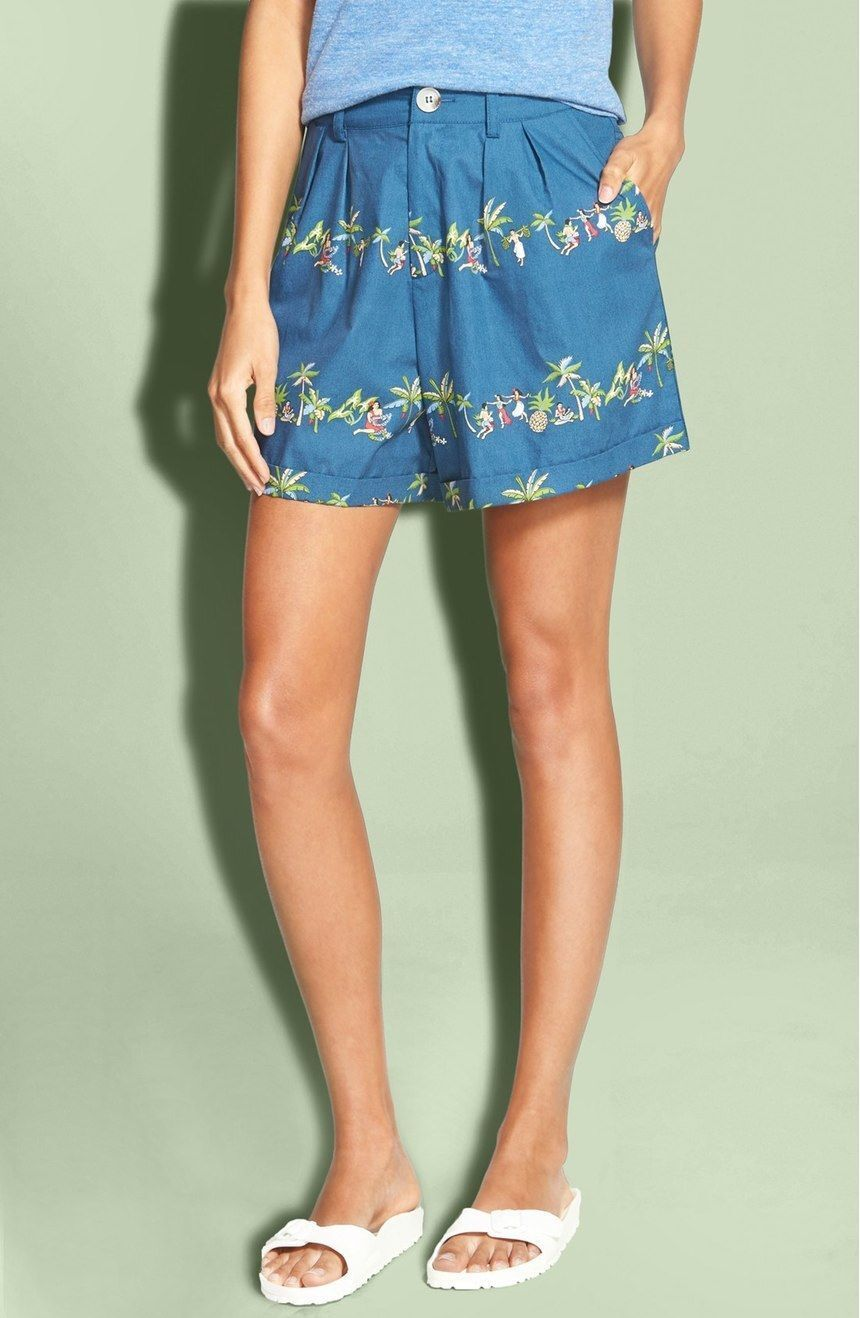 NWT Rachel Antonoff 'Julia' Shorts (Women) Navy Hula Print [ SZ 4]