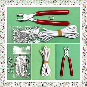 "DOLL RESTRING KIT Hog Ring Pliers Hog Rings /& 3 yds Elastic Cord 18-32/"" Dolls"