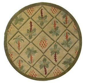 8x8 Round Area Rug Tropical Palm Tree Amp Pineapple Design 1