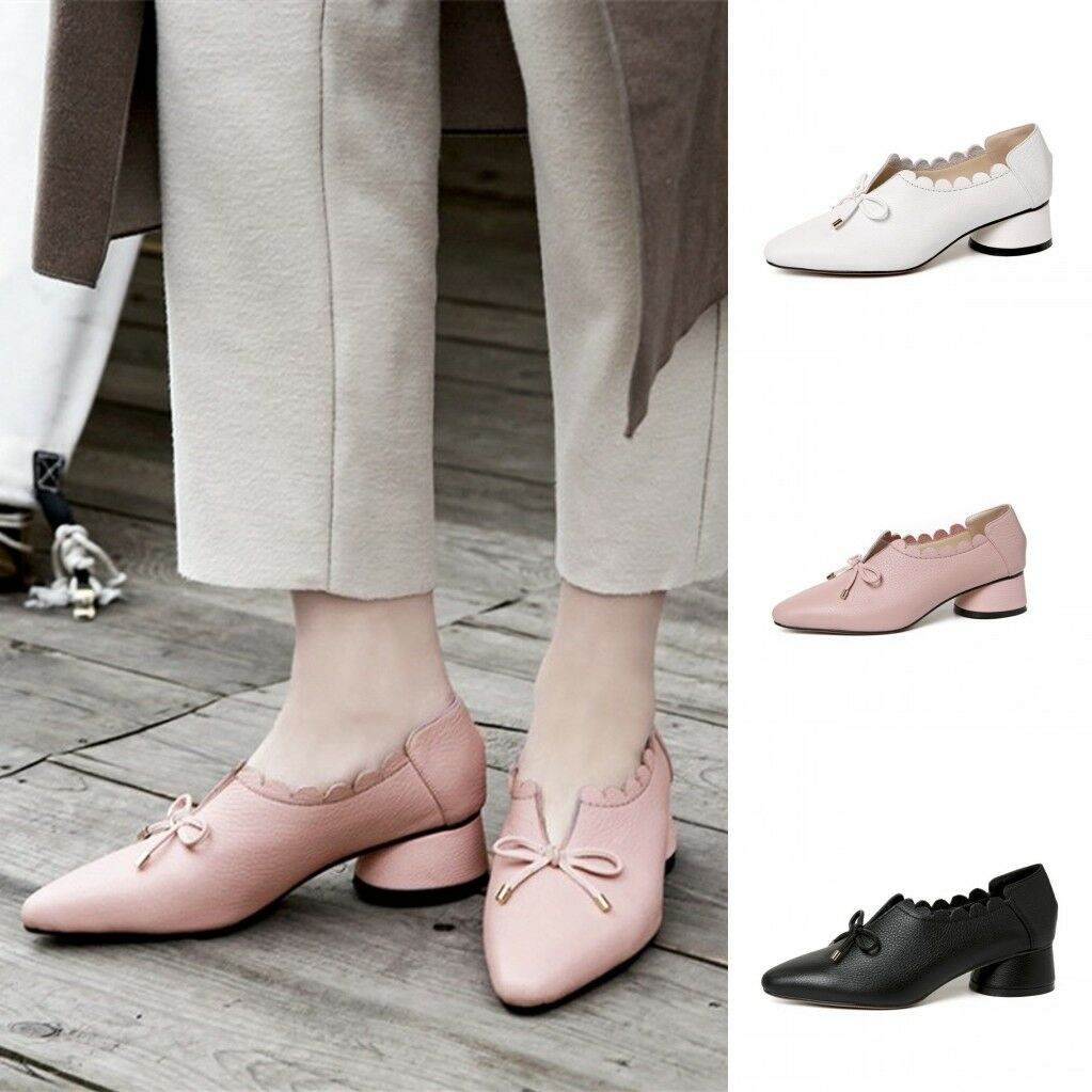 Women's Leather Block Heels Lace Pumps Pointed Toe Casual shoes shoes shoes Size 4.5-9 140ed4
