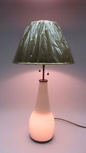 Art-Deco-Leuchte-TISCHLAMPE-Opal-Glas-Messing-Vasen-Lampe