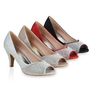 Details zu Damen Pumps Peeptoes Strass Glitzer Party High Heels Stilettos 820766 Schuhe