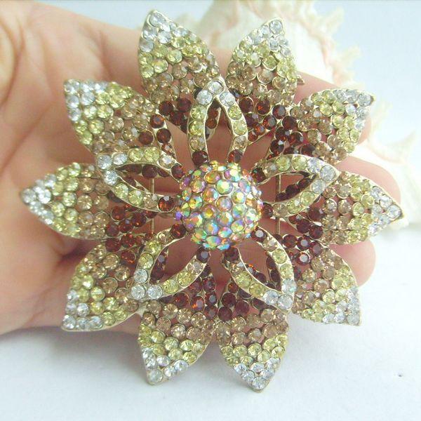 "3.15"" Costume Jewelry Topaz Rhinestone Crystal Orchid Flower Brooch Pin 03485C2"