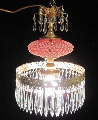 Fenton Cranberry brass Glass Crystal 11/'foot SWAG plugin Lamp Chandelier Vintage